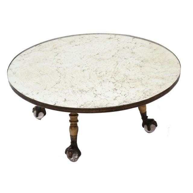Hollywood Regency Round Mirror Coffee Table - Image 5 of 7