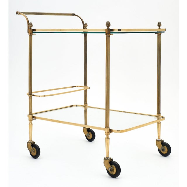 French Art Deco Period Brass Bar Cart With Finials For Sale In Austin - Image 6 of 10