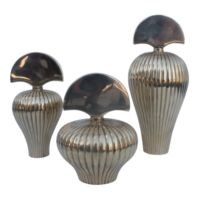 Gabriella Crespi Style Brass Perfume Bottles - S/3 For Sale