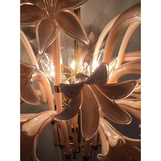Vintage Pink Lily Murano Chandelier - Image 4 of 10