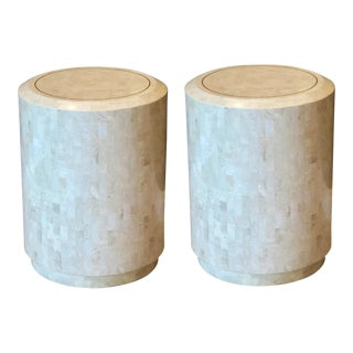 1970s Maitland-Smith Tessellated Stone Round Drum Side Tables – a Pair For Sale
