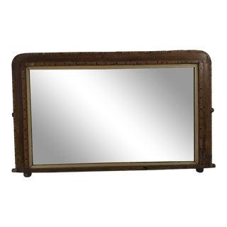 Antique Wood Inlay Dresser Mirror For Sale