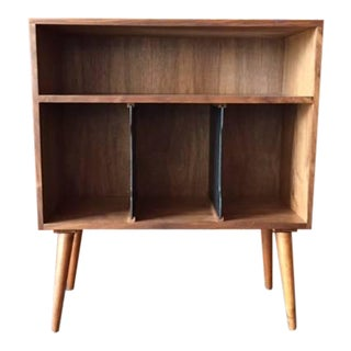 Mid-Century Style Walnut Record Stand For Sale
