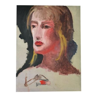 "Original Tall Portrait Painting of a Blonde Woman on Green 1990's - 10"" X 17.5"" For Sale"