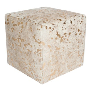 White & Gold Cube Ottoman For Sale
