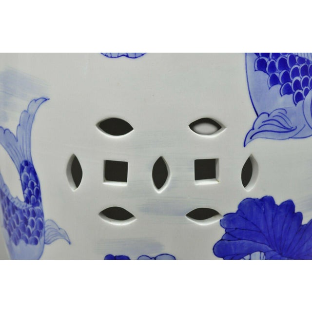 Ceramic Blue & White Koi Fish Porcelain Chinese Garden Stool For Sale - Image 7 of 12