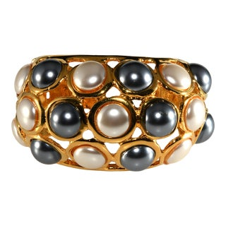 Kenneth Jay Lane Cuff Bracelet Faux Pearls For Sale
