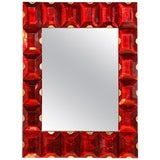 Image of Large Murano Glass Block Mirror For Sale