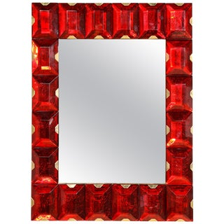 Large Murano Glass Block Mirror For Sale