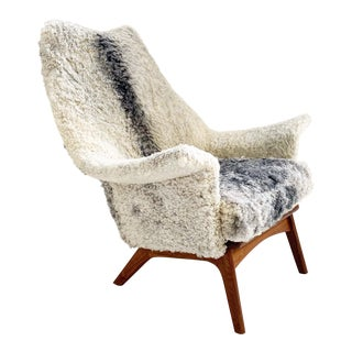Adrian Pearsall for Craft Associates Chair Restored in Gotland Sheepskin For Sale