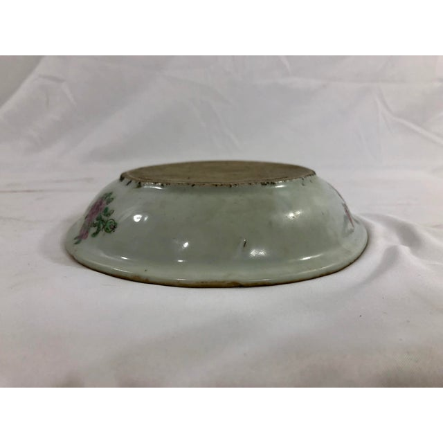 Ceramic Antique Rose Medialion Oval Plates on Stands - a Pair For Sale - Image 7 of 11