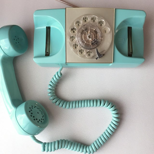 Plastic GTE Automatic Electric Aqua Starlite Princess Style Rotary Telephone For Sale - Image 7 of 11