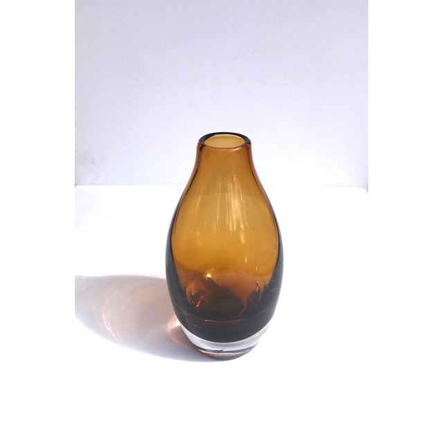 Mid-Century Modern Vintage 1970s Scandinavian Modern Sommerso Glass Vase in Amber For Sale - Image 3 of 13
