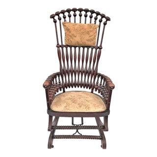 "Late 19th Century George Hunzinger Highback ""Lollipop"" Platform Rocking Chair For Sale"
