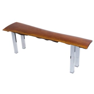 Live Edge Bench With Lucite Legs For Sale