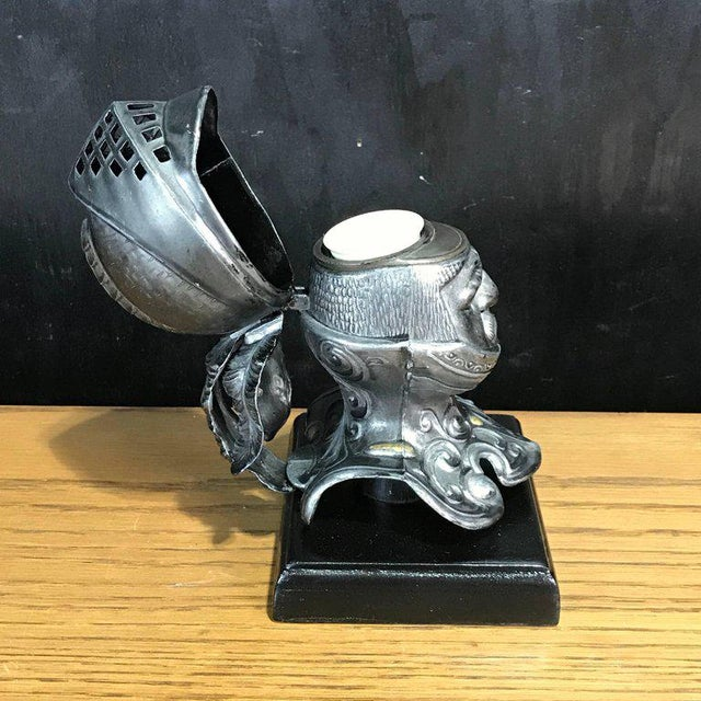 Wood Tole Figural Knight Inkwell For Sale - Image 7 of 11