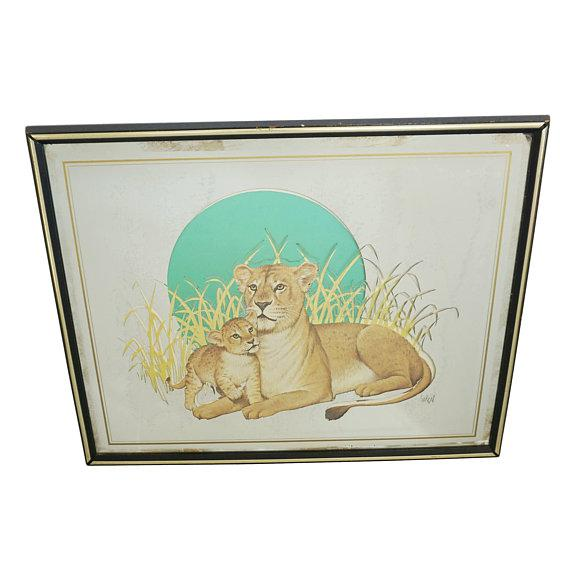 Vintage Glassiques by Murray Skoff Enterprises Mother & Baby Lion Mirror For Sale - Image 10 of 10