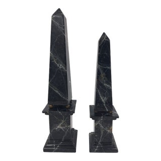 Faux Marble Obelisks - a Pair For Sale