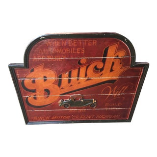 Large Vintage Wood Buick Advertising Sign