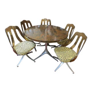 Vintage Mid Century Modern 6pc. Round Dining Set by Howell, C1970 - 6 Pieces For Sale