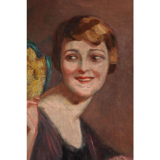 Art Deco Oil on Canvas by Pierre Mitiffiot De Bélair For Sale In New York - Image 6 of 9
