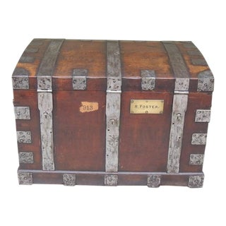 Mid 19th C English Oak Silver Chest with Double Lock For Sale