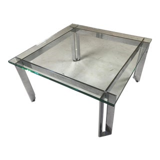 1960s Mid Century Modern Pace Chrome and Glass Cocktail Table For Sale