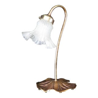 1950s Mid-Century Frosted Glass Hobnail Tulip Gooseneck Desk Lamp For Sale