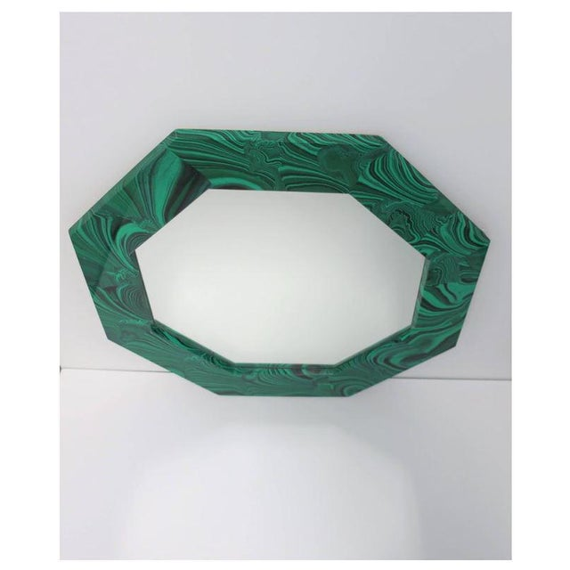 Green Malachite Octagonol Wall Mirror For Sale In New York - Image 6 of 13