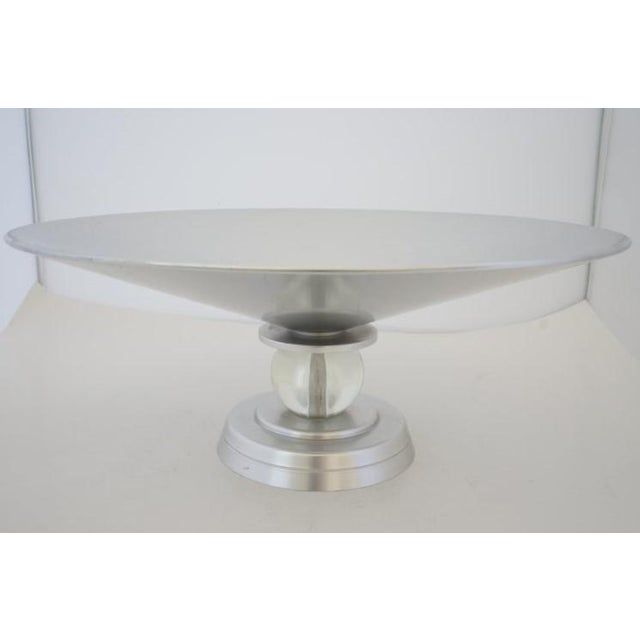 """Vintage Art Deco 1934 Kensington for Lurelle Guild """"Stratford"""" Compote in Aluminum and Glass For Sale In West Palm - Image 6 of 12"""