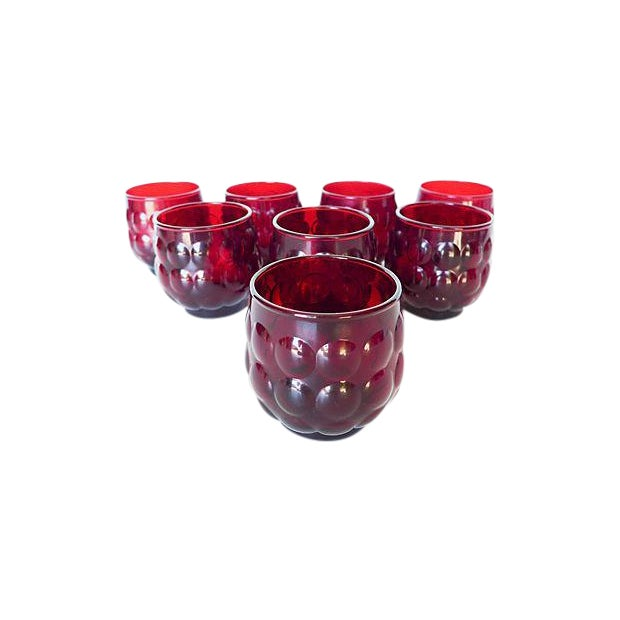 Mid-Century Ruby Red Glasses - Set of 8 - Image 1 of 8