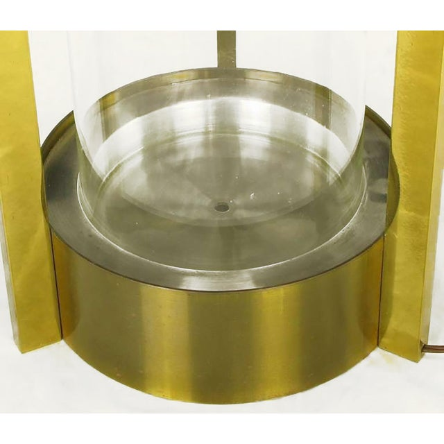 Metal Brass & Glass Cylindrical End Table Attributed To Dorothy Thorpe For Sale - Image 7 of 7