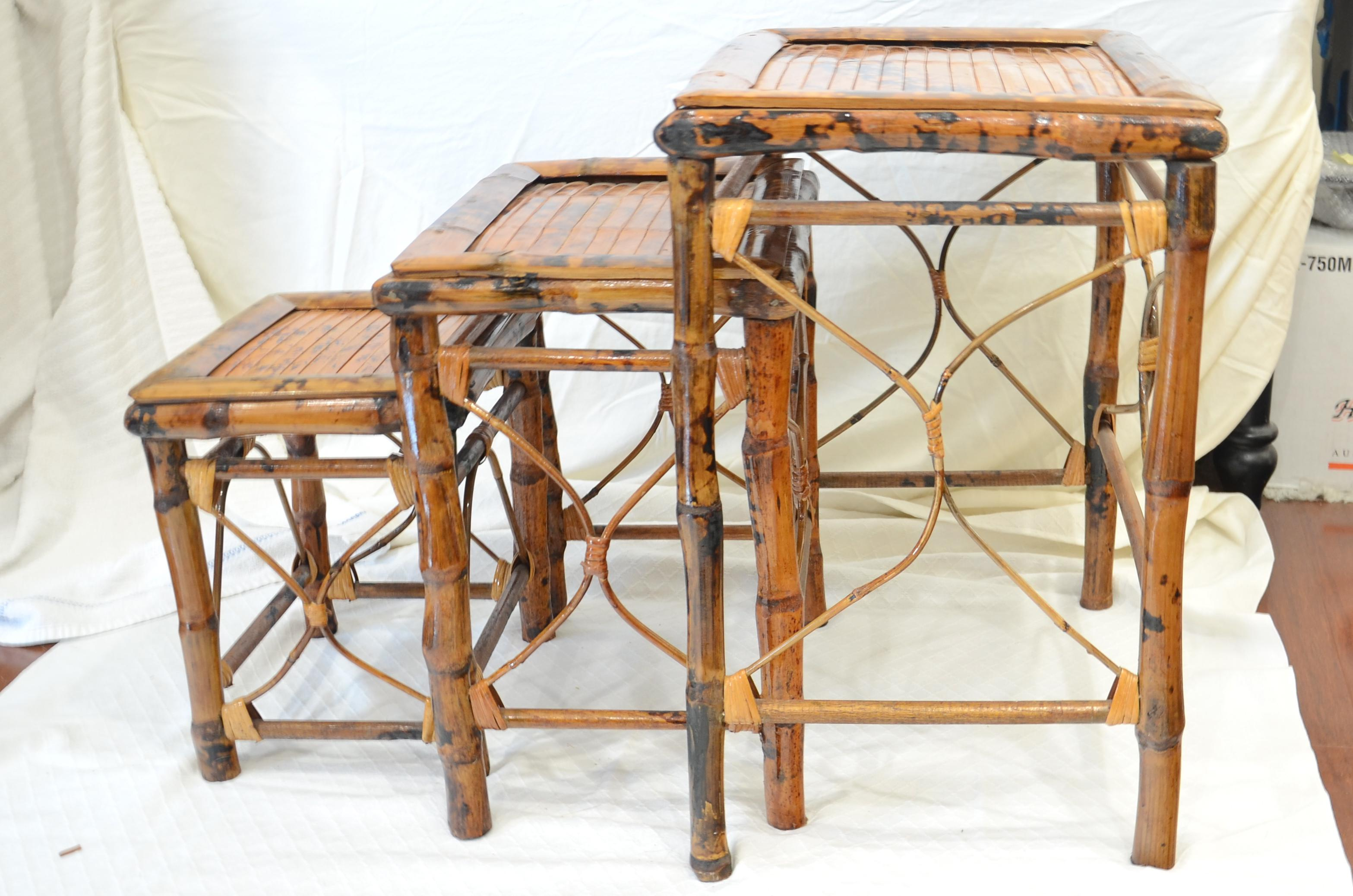 Vintage Bamboo Nesting Tables - Set of 3 - Image 3 of 7  sc 1 st  Chairish & Vintage Bamboo Nesting Tables - Set of 3 | Chairish