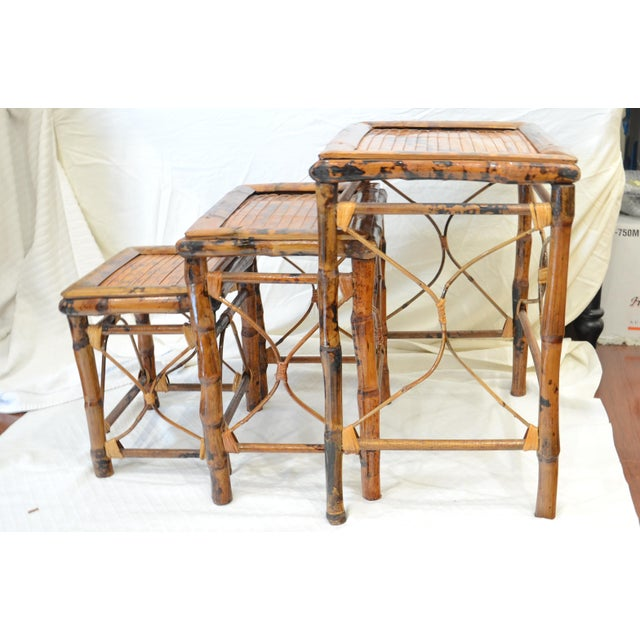 Boho Chic Vintage Bamboo Nesting Tables - Set of 3 For Sale - Image 3 of 7