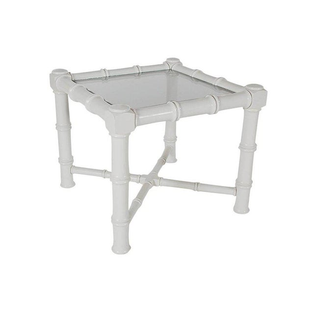 White Faux Bamboo Chinoiserie Tables - A Pair - Image 6 of 6