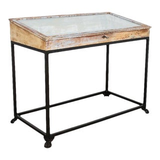 Antique Belgian Display Case With Steel Base For Sale