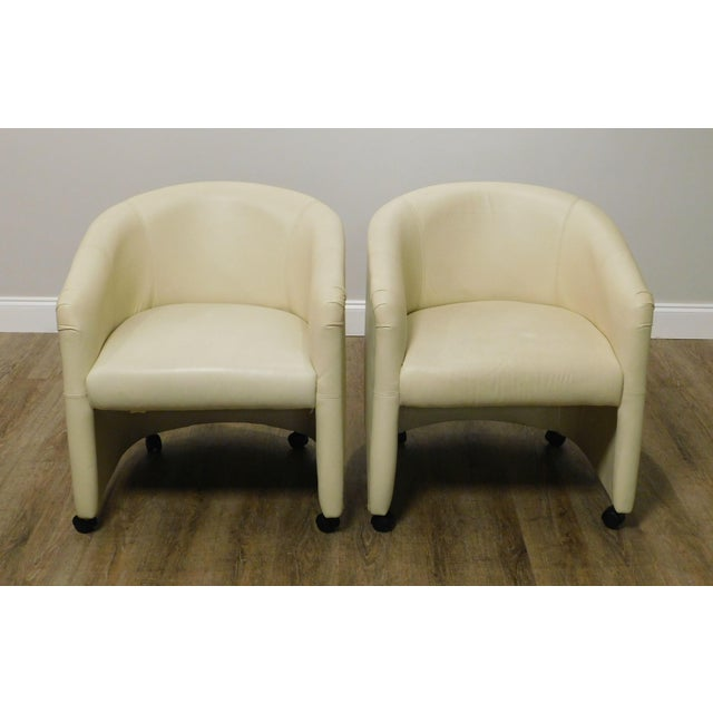 Vintage Set 12 Postmodern Off White Leather Barrel Back Chairs For Sale - Image 4 of 13