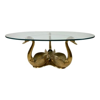 Brass Swan Coffee Table With Glass Top For Sale