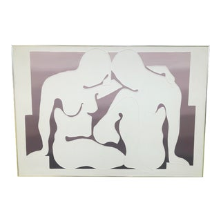 Mid 20th Century Nude Silhouette Figurative Print Singed by Schindler, Framed For Sale