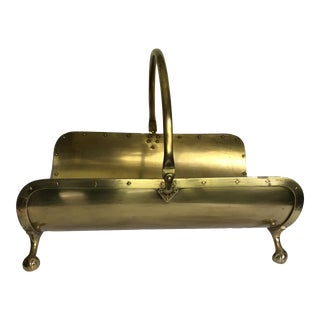 Vintage Brass Log Holder With Ball and Claw Feet and Rivet Details For Sale