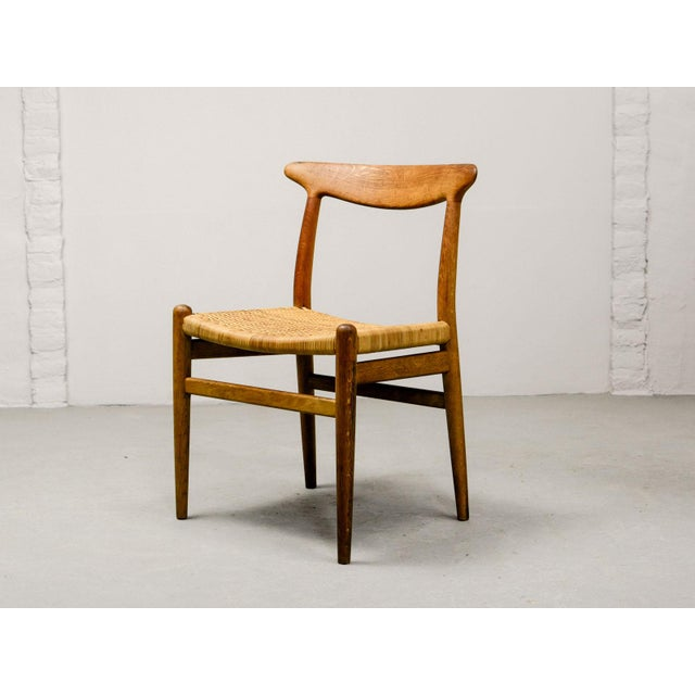 Mid-Century Oakwood and Woven Cane Side Chair W2 by Hans J. Wegner for c.m. Madsen, 1953 For Sale - Image 11 of 11