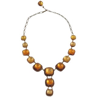 Honey Amber Talosel Resin Necklace Executed by the Workshop of Line Vautrin For Sale