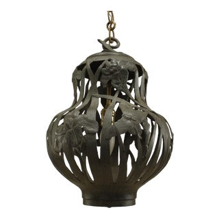 Art Nouveau Iron Lantern with Green Patina and Tapered Round Shape For Sale