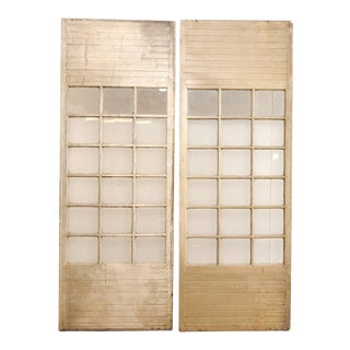 Pair of Tall Grand Scale French Doors of Painted Wood and Glass For Sale
