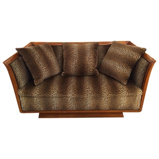 Incredible Authentic Biedermeier Sofa With New Faux Leopard Upholstery For Sale