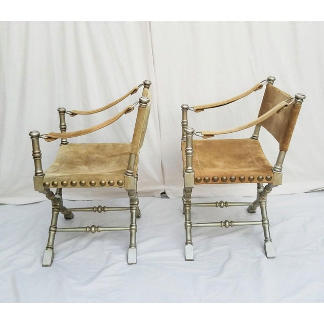 Drexel 1950's Vintage Drexel Burnished Brass & Faux Bamboo and Suede Safari Style Chairs- a Pair For Sale - Image 4 of 9