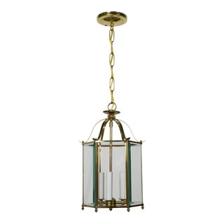 Hexagonal Beveled Glass Brass Lantern