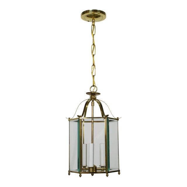 Hexagonal Beveled Glass Brass Lantern For Sale