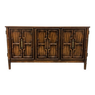 1970s Chinoiserie Faux Bamboo 2-Door Credenza For Sale