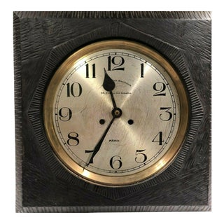 Antique French Parisian Cafe Wall Clock With Art Deco Carving For Sale